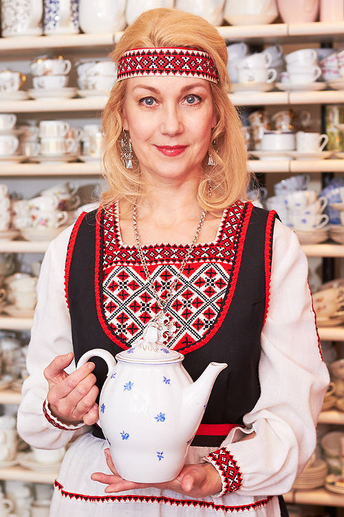 Shopkeeper Tiina in folk costume 1