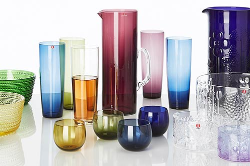 Colourful glassware on table